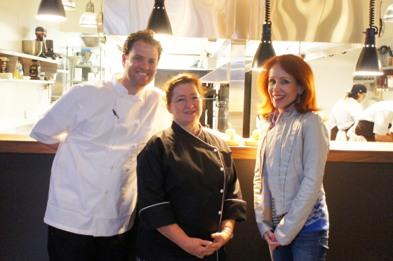 At the soft-opening of 1760 Polk, San Francisco. (L-R) Chef Adam Tortosa, Chef Suzette Gresham (Acquerello), Myself