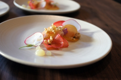 Delectable Hamachi Crudo with summer stone fruit (Plums)