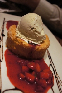 Butter Cake~ Hot buttery pound-style case on a river of dark cherries.