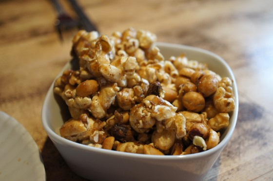 Bonus dish of popcorn munchies, Indian-style