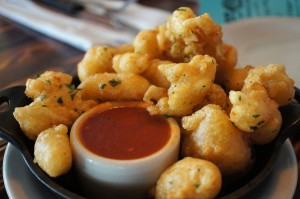 Delectably, hot, chewy-crispy pillows of fried cheese curd - delicious!!