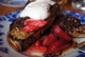 Strawberries and bread pudding