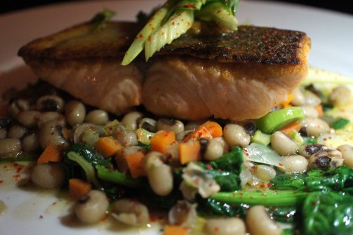 Steelhead Salmon, Black-Eyed Peas, Carrots